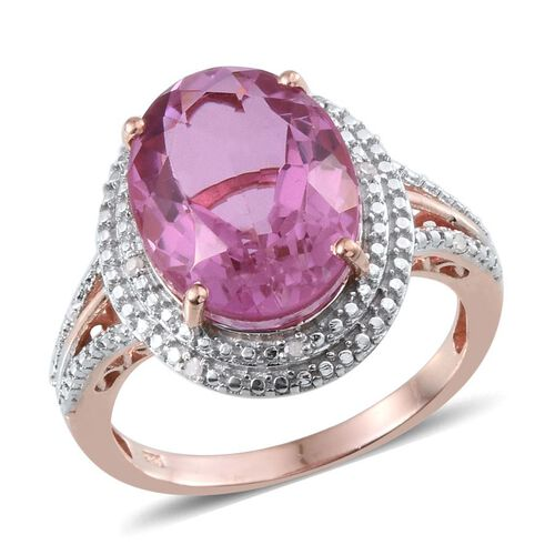 Kunzite Colour Quartz (Ovl 9.75 Ct), Diamond Ring in Rose Gold Overlay Sterling Silver 9.800 Ct.