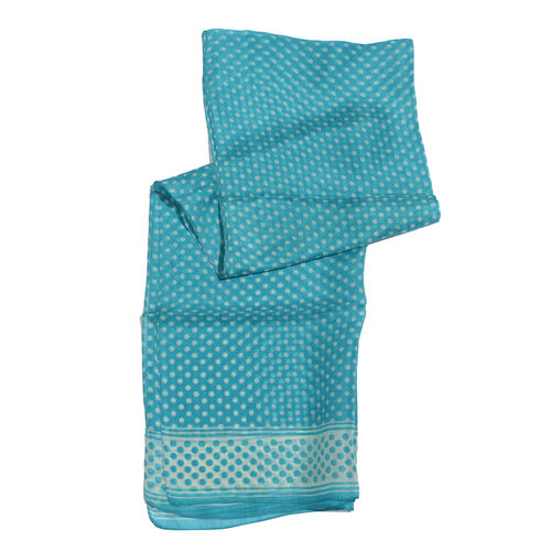 SILK MARK- 100% Silk Teal Colour Polka Dots Pattern Scarf (Size 180x50 Cm)