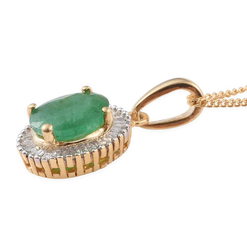Kagem Zambian Emerald (Ovl 1.05 Ct), Diamond Pendant with Chain in 14K Gold Overlay Sterling Silver 1.250 Ct.