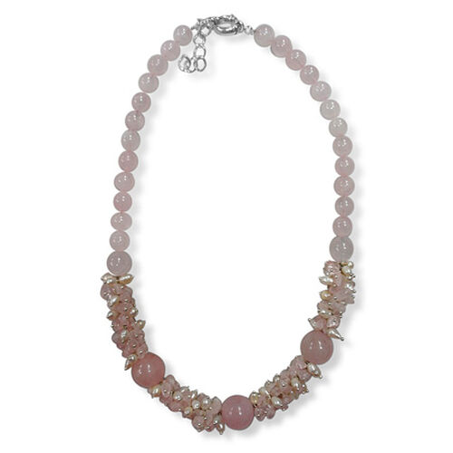 Pink Quartz, Amethyst, Shell Pearl Necklace (Size 18) 410.000 Ct.