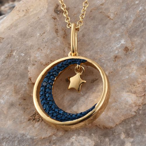 Blue Diamond Rnd Moon And Star Charm Pendant With Chain