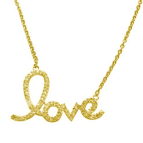 ELANZA AAA Simulated Diamond (Rnd) Love Message Necklace (Size 18 with Extender) in 14K Gold Overlay Sterling Silver