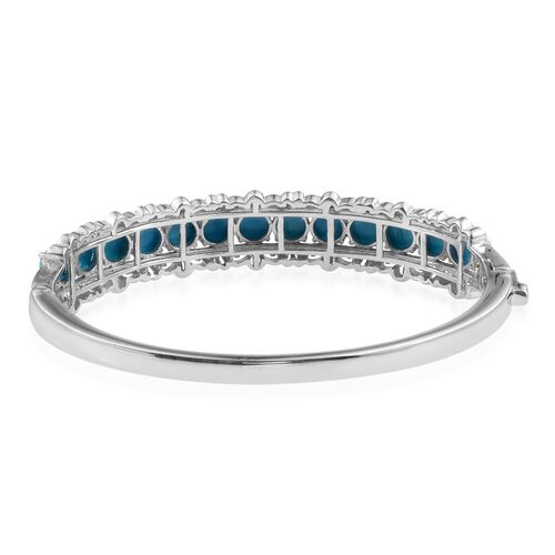 Arizona Sleeping Beauty Turquoise (Rnd) Bangle (Size 7.5) in Platinum and Yellow Gold Overlay Sterling Silver 10.000 Ct.