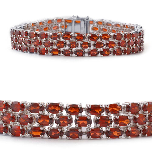 Indian Garnet (Ovl) Bracelet in Platinum Overlay Sterling Silver (Size 8) 32.250 Ct.