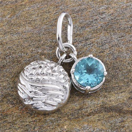 Paraibe Apatite (Rnd) Pendant in Platinum Overlay Sterling Silver 1.000 Ct.