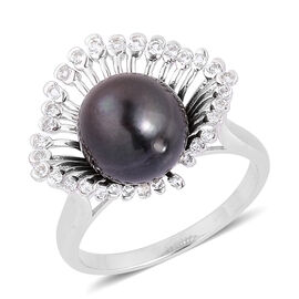Tahitian Pearl (Rnd 11-12 mm), White Topaz Ring in Platinum Overlay Sterling Silver
