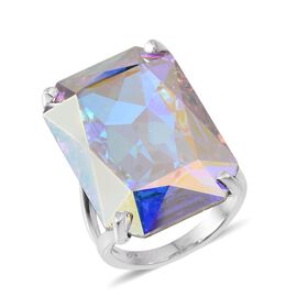 Crystal from Swarovski - AB Crystal (Oct) Ring in ION Plated Platinum Bond 26.000 Ct.