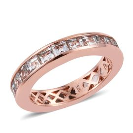 Aquamarine 3 Carat Silver Full Eternity Band Ring in Rose Gold Overlay