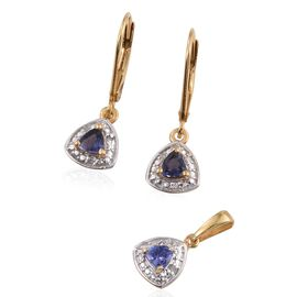 Iolite (Trl), Diamond Pendant and Lever Back Earrings in 14K Gold Overlay Sterling Silver 0.500 Ct.