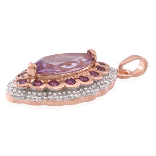 Rose De France Amethyst (Mrq 2.50 Ct), Rhodolite Garnet Pendant in Rose Gold Overlay Sterling Silver 3.250 Ct.