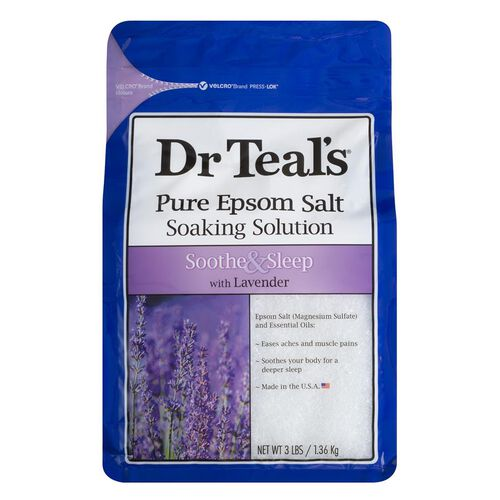 Dr Teals Pure Epsom Salt Soaking Solution Soothe and Sleep with Lavender 1.36 kg