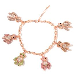 AAA Multi Colour Austrian Crystal Teddy Bear Charm Bracelet in Rose Gold Tone (Size 8.5 with 2 inch Extender)