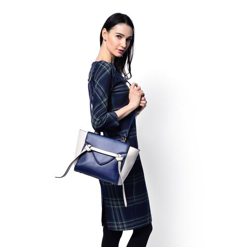 Navy Color Top Handle Bag with Adjustable and Removable Shoulder Strap (Size 35x25x10 Cm)