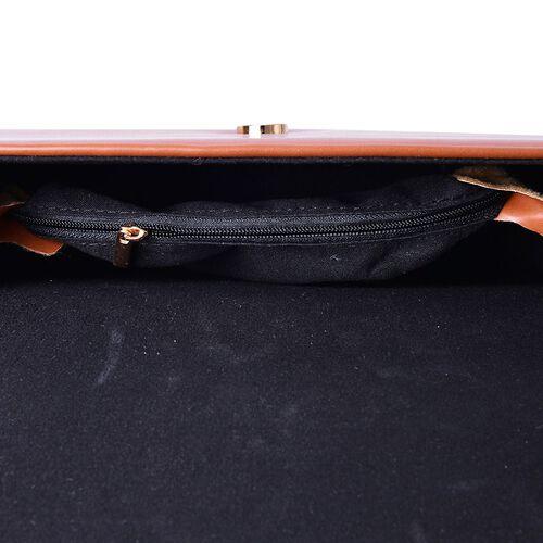 Eddie Chocolate Colour Tote Bag with Shoulder Strap (Size 26x17x6 Cm)