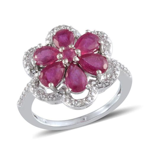 African Ruby (Pear), Diamond Floral Ring in Platinum Overlay Sterling Silver 2.920 Ct.