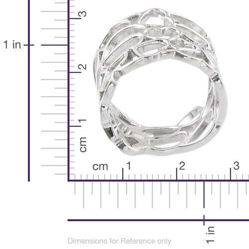 Platinum Overlay Sterling Silver Hearts Band Ring, Silver wt 5.00 Gms.