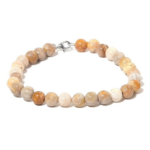 Limited One Time Deal- Rare Finest Fossil Coral Bracelet (Size 8) in Rhodium Plated Sterling Silver 85.000 Ct.