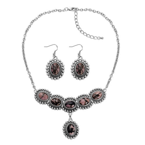 Zaire Rhodonite, Unakite Reversible Necklace (Size 18) and Matching Hook Earrings