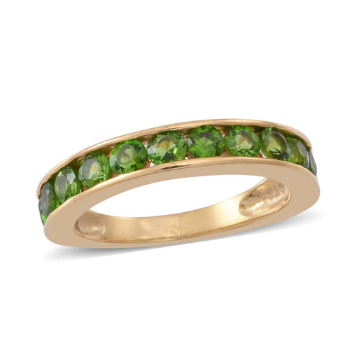 AAA Russian Diopside (Rnd) Half Eternity Channel Band Ring in 14K Gold Overlay Sterling Silver 1.500 Ct.