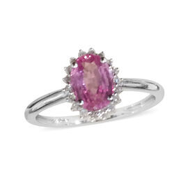 ILIANA 18K W Gold AAA Pink Sapphire (Ovl 0.90 Ct), Diamond Ring 1.000 Ct.