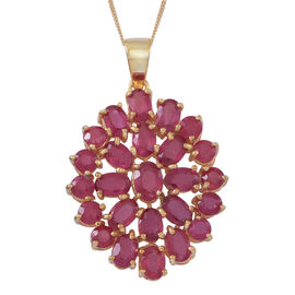 African Ruby (Ovl) Floral Pendant with Chain in 14K Gold Overlay Sterling Silver 15.000 Ct.