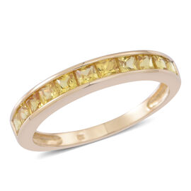 9K Y Gold AA Yellow Sapphire (Sqr) Half Eternity Band Ring 1.250 Ct.