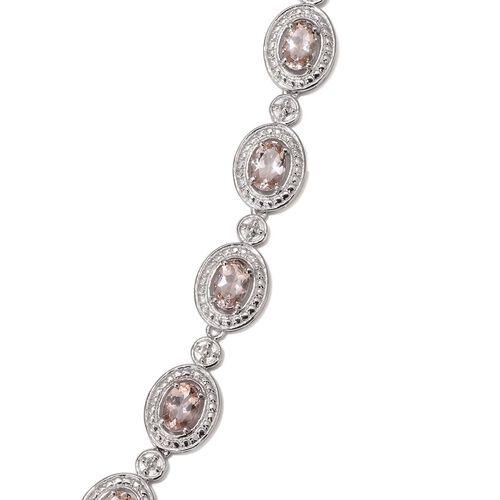 Marropino Morganite (Ovl), Diamond Necklace (Size 18) in Platinum Overlay Sterling Silver 5.260 Ct.