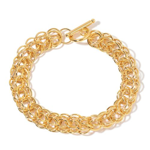 Designer Inspired - ION Plated Yellow Gold Stainless Steel Circle Link Bracelet (Size 8.5) with Toggle Lock