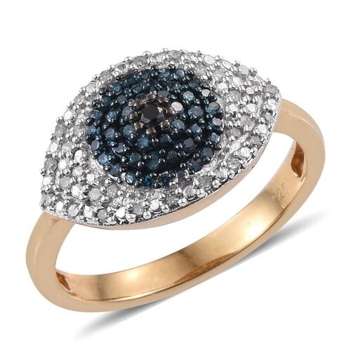 Black Diamond (Rnd), Blue and White Diamond Evil Eye Ring in 14K Gold Overlay Sterling Silver 0.350 Ct.