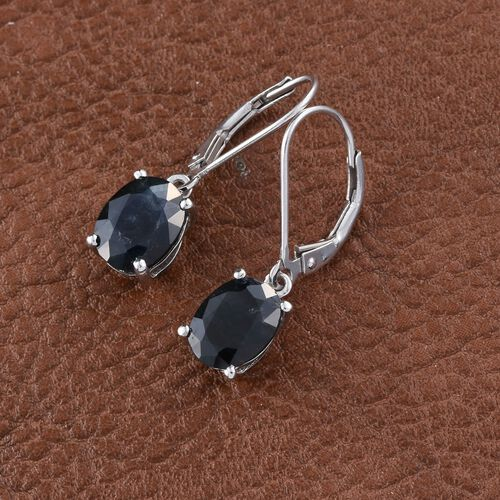 Rajasthan Blue Sapphire (Ovl) Lever Back Earrings in Platinum Overlay Sterling Silver 5.000 Ct.