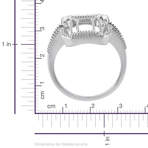 Platinum Overlay Sterling Silver Ring, Silver wt 5.98 Gms.