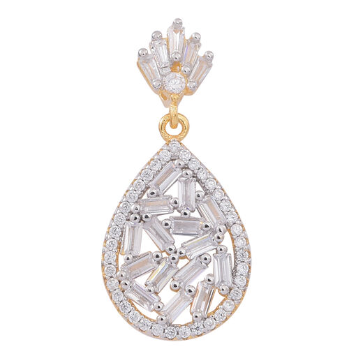ELANZA AAA Simulated White Diamond (Bgt) Pendant in 14K Gold Overlay Sterling Silver