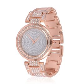 STRADA Japanese Movement Silver Stardust Dial with White Austrian Crystal Water Resistant Watch in Rose Gold Tone with Stainless Steel Back