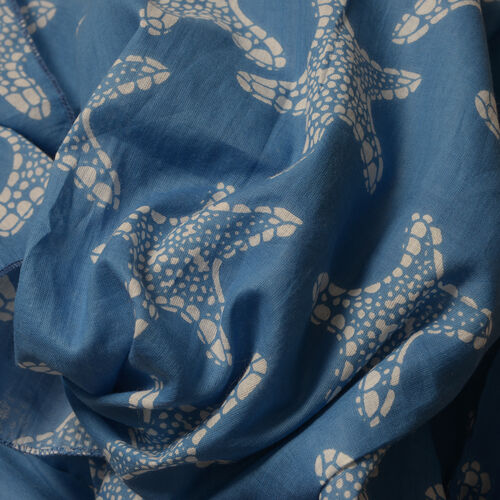 Hand Dyed 100% Cotton Starfish Pattern Blue Colour Poncho (Free Size)