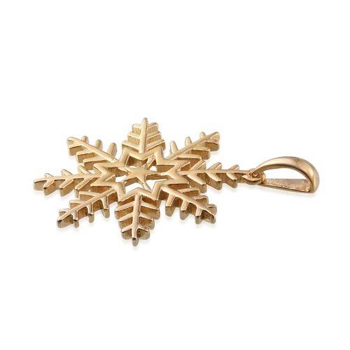 Designer Inspired 14K Gold Overlay Sterling Silver Snowflake Pendant, Silver wt 3.79 Gms.