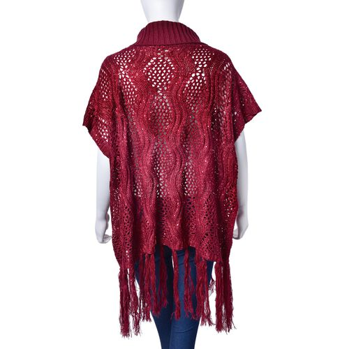 Merlot Colour Wavy Pattern High Neck Design Knitted Vest with Tassels (Size 70x60 Cm)