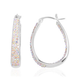 Close Out Deal AAA Simulated AB Colour Diamond Hoop Earrings in Silver Bond
