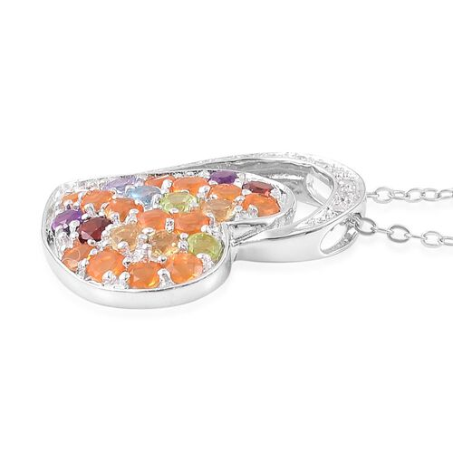 Jalisco Fire Opal (Rnd), Citrine, Swiss Blue Topaz, Mozambique Garnet, Amethyst, White Zircon and Multi GemStone Heart Pendant with Chain in Rhodium and Platinum Overlay Sterling Silver 1.500 Ct.