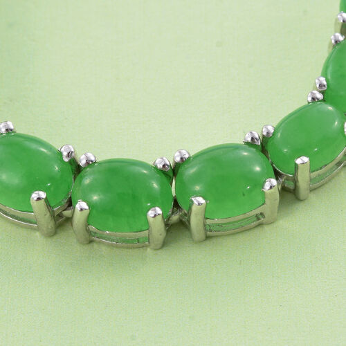 Green Jade (Ovl) Necklace (Size 18) in Platinum Overlay Sterling Silver 32.500 Ct. Silver Wt 16.60 Gms