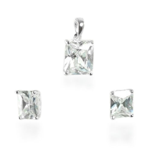 ELANZA Simulated Diamond Earrings and Solitaire Pendant in Sterling Silver