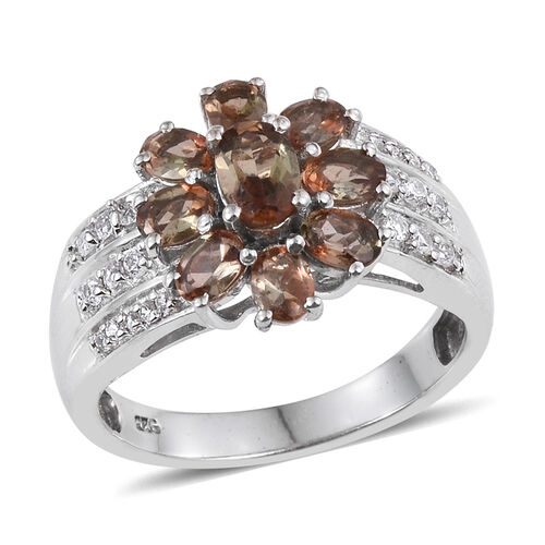 Jenipapo Andalusite (Ovl), Natural Cambodian Zircon Floral Ring in Platinum Overlay Sterling Silver 2.000 Ct.
