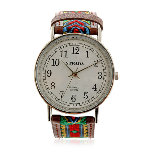STRADA Leather Pattern Japanese Movement Watch in ION Plated Silver Stainless Steel Water Resistant