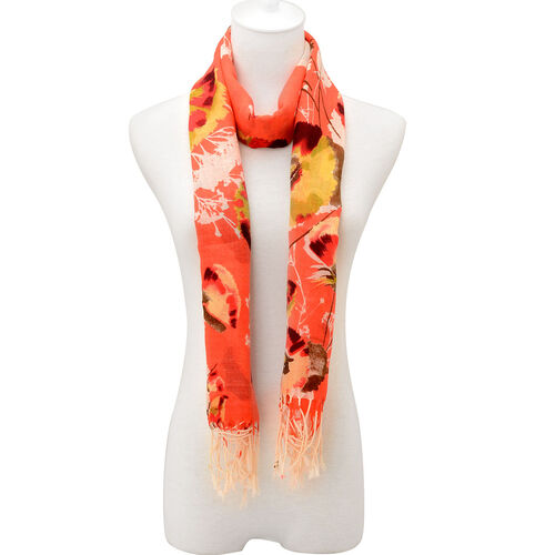 100% Wool Multi Colour Floral Pattern Orange Scarf (Size 170x67 Cm)