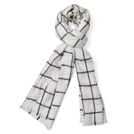 White and Black Colour Checks Pattern Scarf with Fringes (Size 200x55 Cm)