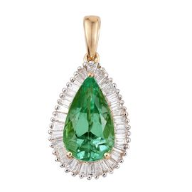 ILIANA 18K Y Gold Boyaca Colombian Emerald (Pear 3.55 Ct), Diamond (SI/G-H) Pendant 4.500 Ct.