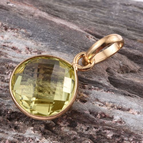 Natural Ouro Verde Quartz (Pear) Solitaire Pendant in 14K Gold Overlay Sterling Silver 5.220 Ct.