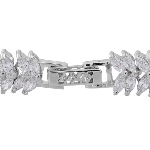 ELANZA AAA Simulated White Diamond (Mrq) Double Strand Bracelet (Size 7) in Rhodium Plated Sterling Silver. Silver Wt 17.00 Gms and 136  number of Stones.