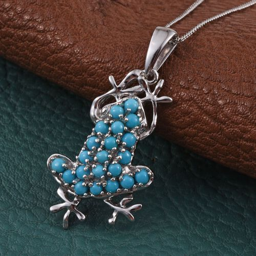 Arizona Sleeping Beauty Turquoise (Rnd) Frog Pendant with Chain in Platinum Overlay Sterling Silver 1.000 Ct.