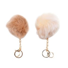 Set of 2 -  Faux Fur Cream and Light Brown Colour Fluffy Pom Pom Key Chain in Gold Tone (Size 10 Cm)