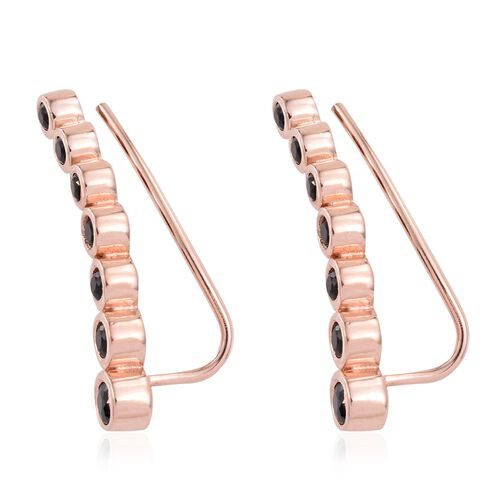 Black Spinel 1.25 Ct Silver Ear Climber Earrings in Rose Gold Overlay